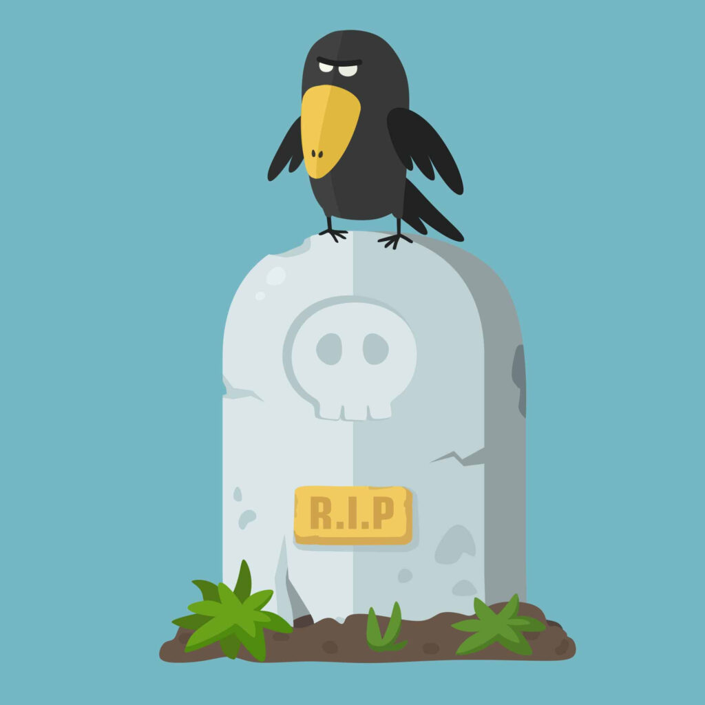 Crow on gravesite doing a post mortem when you lose a freelance client